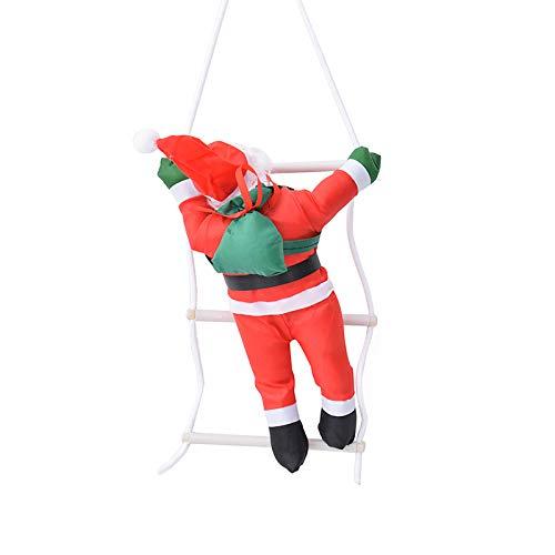 KOEY Decorazioni Natalizie, Babbo Natale Scala di Arrampicata, Babbo Natale Figurine di Natale Ornamento