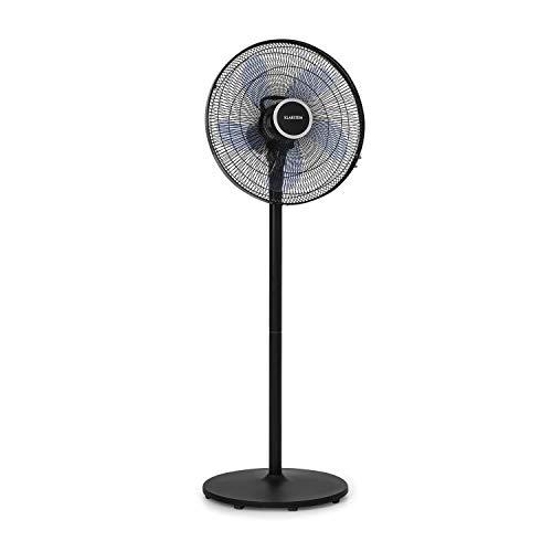 Klarstein Windflower – ventilador vertical, 50 W de potencia, rotor de 5 aspas (15'/38,5 cm), 3 velocidades, regulable en altura (2 niveles), caudal: 3.090 m³/h, oscilación independiente, antracita