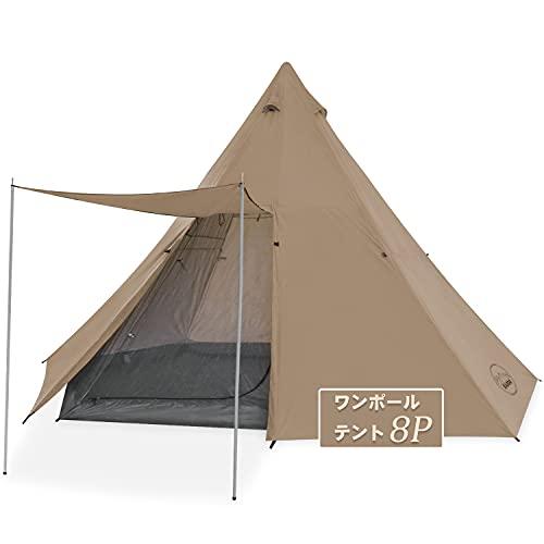KAZOO テント ワンポールテントL ファミリーキャンプテント大型防水ティピーテント8人部屋ティーピーテントインスタントセットアップダブルレイヤー