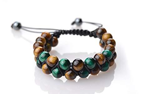 Pulseras Premium Shamballa Doble de Piedras semipreciosas Naturales para Hombre Mujer Yoga Kundalini gemoterapia 7 Chakras Reiki y meditación (Ojo De Tigre Marrón Y Verde)