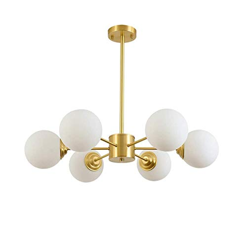 MBLIGHT Lámpara de araña de Sputnik Moderna, Frosted White Globe Luces Colgantes, E27 Luz Colgante Industrial para Sala de Estar Dormitorio Salón Luz de Techo Lámparas de Techo Dorado (Size : 6 Lamp)