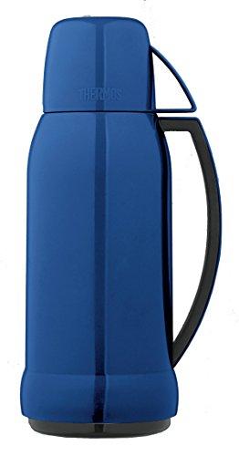 THERMOS 4057.256.100 Isolierflasche Jupitor, Kunststoff Blau 1,0 l, mit Glaseinsatz, 12 Stunden heiß, 24 Stunden kalt, BPA-Free