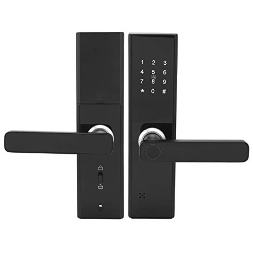 Cerradura de puerta biométrica con huella digital WIFI Cerradura de puerta inteligente con huella digital Tarjeta de contraseña Desbloqueo remoto Panel táctil con llave mecánica para Tuya
