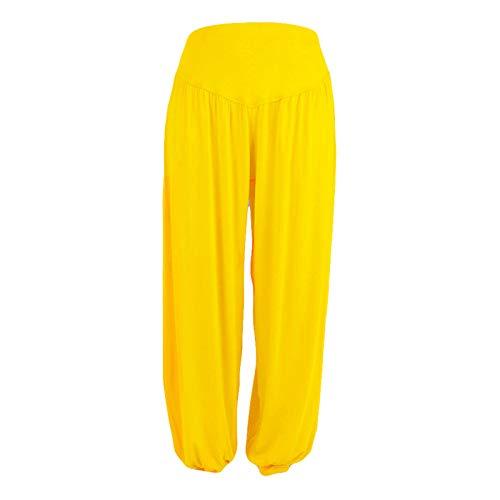 Winkey Mens Pantalones de chándal para mujer, de pierna ancha, largos, holgados, para el tiempo libre, para el gimnasio amarillo XXXL