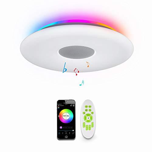 OFFDARKS LED Lámpara de techo,compatible con Amzon Alexa+Google Assistantpara,sala de estar, dormitorio, sala de niños,altavoz Bluetooth,brillo ajustable,Luz de color,APP + Control remoto