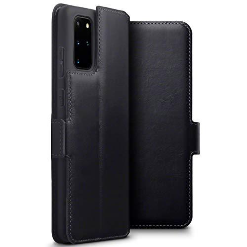 TERRAPIN, Kompatibel mit Samsung Galaxy S20 Plus Hülle, Premium ECHT Spaltleder Flip Handyhülle Samsung Galaxy S20+ Hülle Tasche Schutzhülle, Schwarz