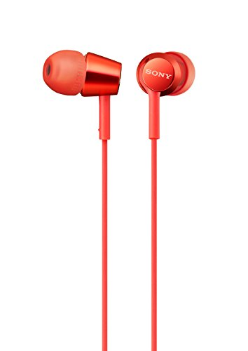 Sony MDREX155AP in-Ear Earbud Headphones/Headset with mic for Phone Call, Red (MDR-EX155AP/R)