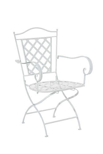 Silla de Jardín Adara en Hierro Forjado | Silla de Exterior Metálica con Reposabrazos | Silla de Terraza con 93cm de Altura | Color:, Color:Blanco