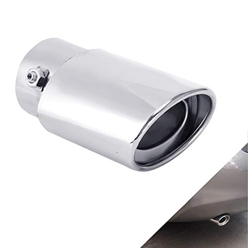 Qiilu Exhaust Rear Muffler Car Exhaust Rear Silencer Twin Tip Pipes for Universal 58mm Diameter Car Vehicle Throat Muffler with 2 Round Mouth Chrome
