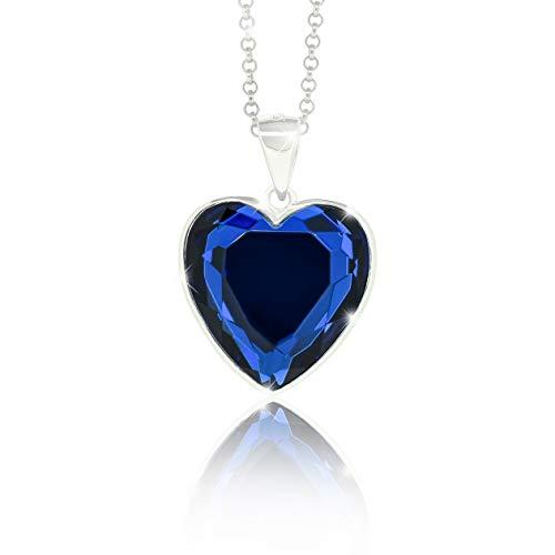 Collar para mujer de Pavels con colgante de corazón del océano con circonitas azules de plata 925...