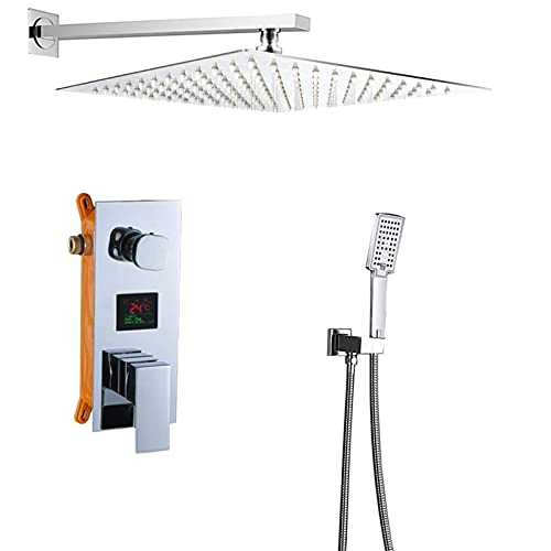 HNBMC Grifo de Ducha de precipitaciones de baño, Grifo de baño de Pantalla Digital cromada, Mezclador de Ducha de Montaje en Pared Sistema de Ducha de Temperatura, Cromo Pulido,8 Inch
