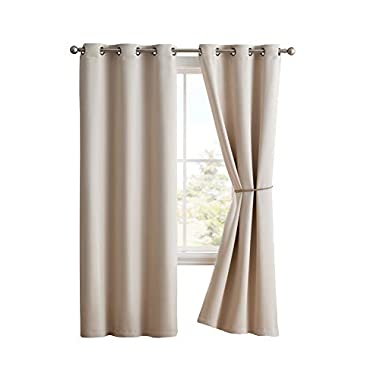 Nicole - 2 Premium Grommet Blackout Window Curtain Panels with Tiebacks - Solid Thermal Insulated Draperies - Total Size 76 inch Wide (38 Each Panel) - 84 inch Long (2 Panels 38x84, Ivory)
