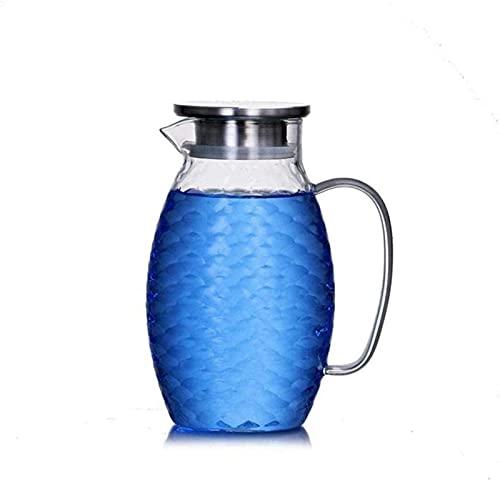 Hervidor de vidrio para el hogar, tetera, tetera de 1,2 l / litro, jarra de vidrio, jarra con tapa, jarra para té helado, vino, café, leche y jugo, jarra para bebidas, jarra para agua, para té helado