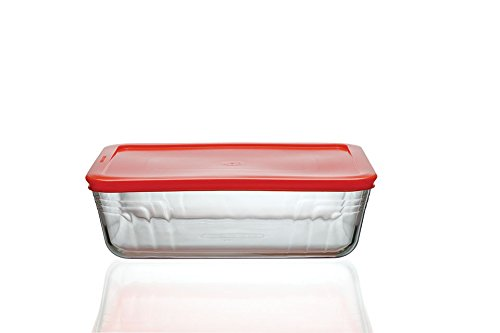 Pyrex 4in1 2.6L Rectangular Glass Storage With Red Plastic Lid
