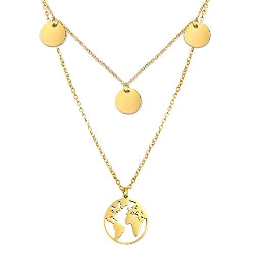 SHINE & WANDER Wanderlust Necklace Bundle   Layered Damen Edelstahl Halskette mit 3 Plättchen und Globus Anhänger   längenverstellbar (Gold)