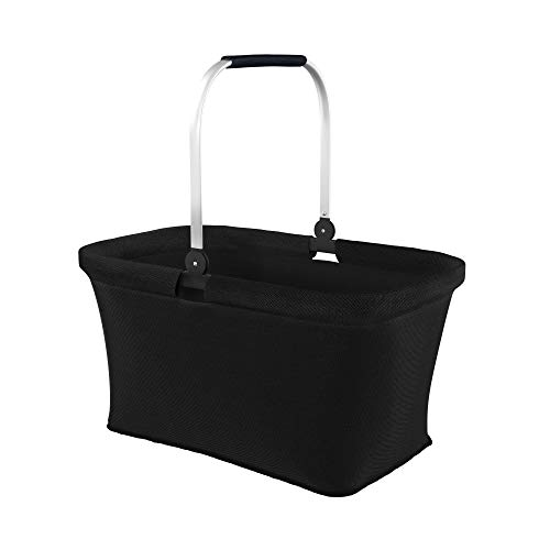 LOMOS Faltbarer Einkaufskorb mit komfortablem Henkel, Größe L, in schwarz