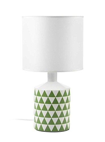 Mathias 3410798 Lampe YLVA H40 D22, Céramique/ABJ Polyester, E14, 230 W, Blanc/Vert
