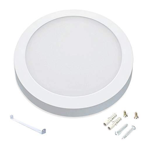 Plafon Downlight LED, redondo plano de superficie color de aro blanco, 20W Color Blanco Frío (6000K). 2000 Lumenes. Driver Ultra slim incluido.Gran angulo de apertura de 120º.Ahorro energético A++