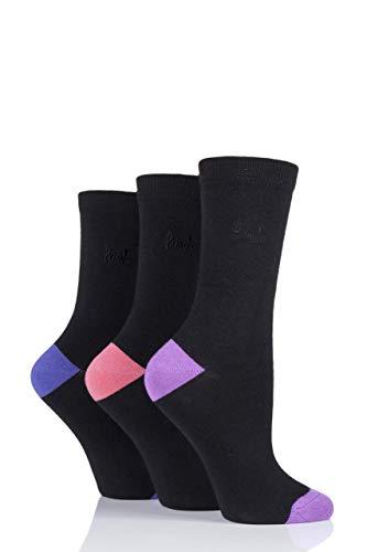 Pringle Damen 3 Paar Terri-Ann mit farblich abgesetzter Ferse & Zehen Socken (Violetts, 37/41)