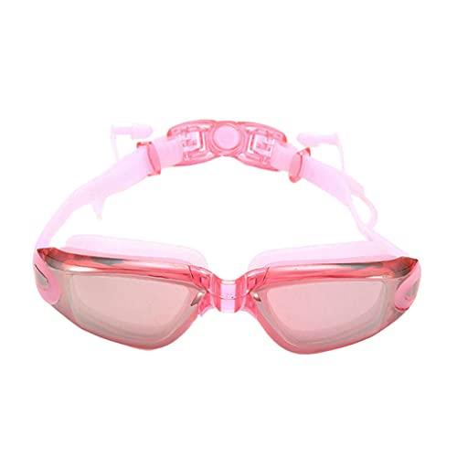 F Fityle Gafas de natación de Silicona, luz Plana, antivaho, Impermeables con Tapones para los oídos, PC sin Fugas, cómodas Gafas para bucear al Aire Libre - Polvo Transparente