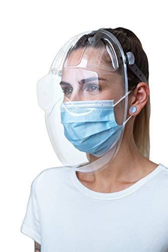 Masq 2-5 Pack Durchsichtiger Gesichtsschutz - CE-zertifizierter PET-Mundschutz/Nasenschutz - Für Brillenträger - Transparent, verstellbar, anpassbar, wiederverwendbar - Anti-Fog-System