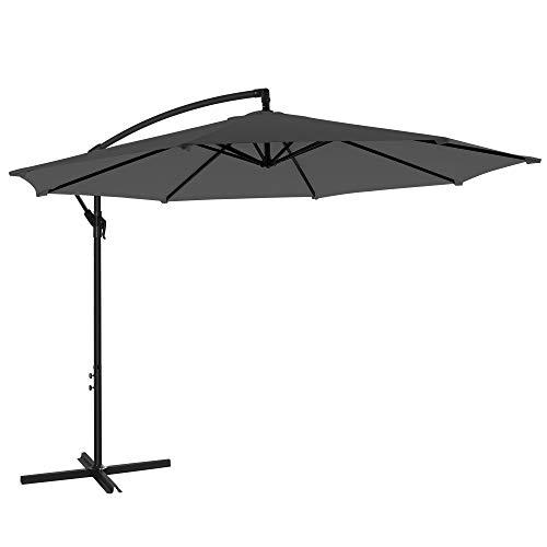 SONGMICS Cantilever Garden Patio Umbrella with Base, 3 m Offset Parasol,...