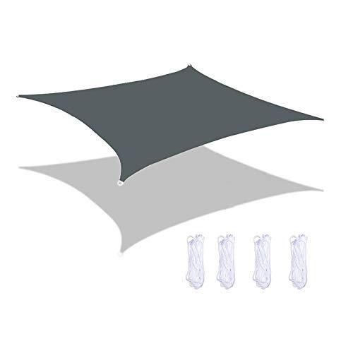 MEEYI Sonnen Segel, Sonnensegel Garten Windschutz Wasserabweisend Tear Resistant Wetterschutz 95% Beschattung Uv Schutz FüR Garten, Terrasse, Balkon Und Camping Dunkelgrau 2X1.8m