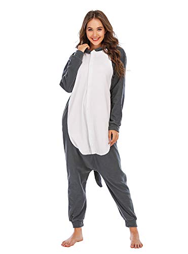 BGOKTA Disfraces de Cosplay para Adultos Pijamas de Animales One Piece Lobo, S