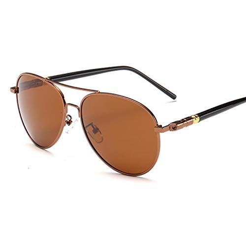 HAOMAO Gafas de Sol polarizadas de aleación de Pierna de Resorte de Gran tamaño con Marco de Metal de piloto de aviación para Hombres para Conducir marrón