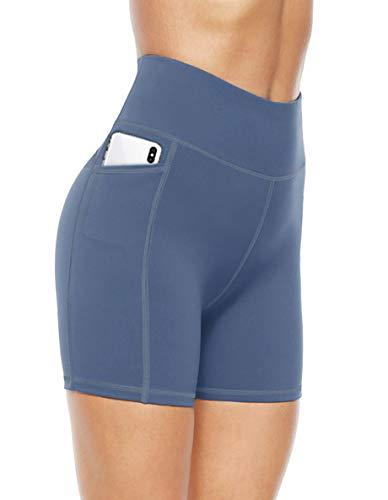 JOYSPELS Kurze Sporthose Radlerhose Damen High Waist Kurze Hose Leggings Laufhose Damen Kurz, Blau, L