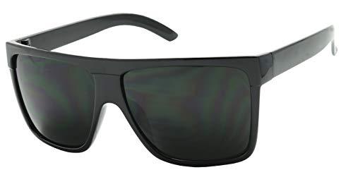 ShadyVEU Super Dark Black Lens Flat Top Square Oversize Migraine Shades Blackout Glasses Retro Sunglasses (Super Dark Lens)