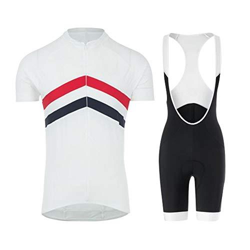 Jnsio Traje Ciclismo Conjunto Ropa Equipacion Hombre para Verano Manga Corta + Pantalones Cortos con 12D Gel Padded,A,XXXL