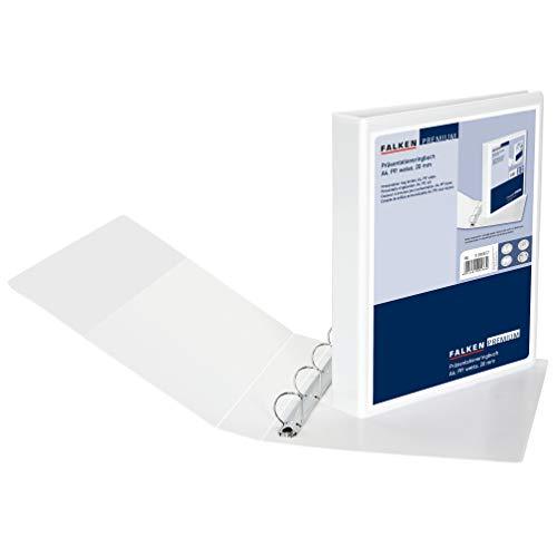 Original Falken Premium Präsentationsringbuch. Made in Germany. Kunststoffbezug außen und innen 4 Ring-Mechanik DIN A4 Füllhöhe 20 mm weiß ideal für Angebots- und Unternehmenspräsentationen