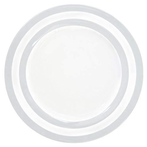 Krasilnikoff HP26190 Dinner Plate - Speiseteller - Essteller - Porzellan - grau gestreift - Ø 26,5 cm