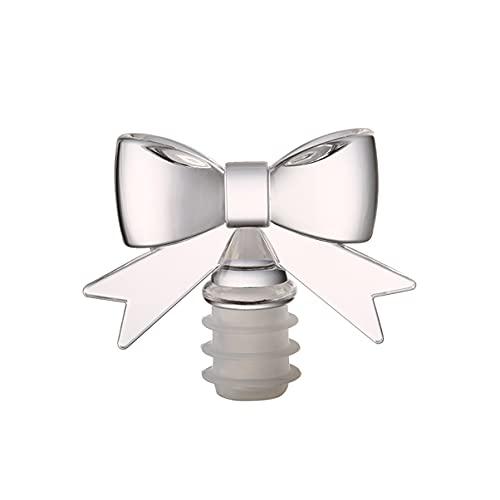 LHFD Bowknot Sellado de Silicona Botella de Vino Tope de Tope de Vino Tope de Vidrio tapón de Vidrio Tope de Botella de Fresco de Tapa de la Tapa del vacío (Color : Clear)