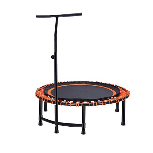 Folding Fitness Trampoline For Adults Kids, 45' Bounce Trampolines Rebounder Trainer With Adjustable Handle Bar For Home Gym Indoor/Outdoor/Garden/Yoga Workout Exercise (Size : Orange-45 inches)