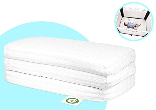 Stock Your Home Pack & Play Mattress Trifold Portable Mini Crib Roll Up Mattress Pad with High Density Foam for Babies and Toddlers with Travel Tote - Hypoallergenic Travel Mattress (White)