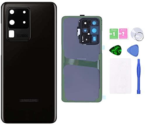 MovTEK Tapa Trasera Cristal Trasero Original para Samsung S20 Ultra 5G G988B con Lente de Camara y Kit de Herramientas (Negro Cósmico)
