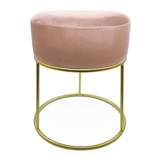 CREOFANT Hocker Samt · gepolsterter Hocker mit Metallgestell · Polsterhocker · Sitzhocker Samtbezug · Schminktisch Hocker · Sitzmöbel · Sitzbank (Rosa | Gold)