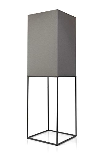 LED Universum Lámpara de pie Oli con diseño urbano loft con marco de metal negro y pantalla de tela gris, máx. 60 W por casquillo (E27), 120 × 35 × 35 cm
