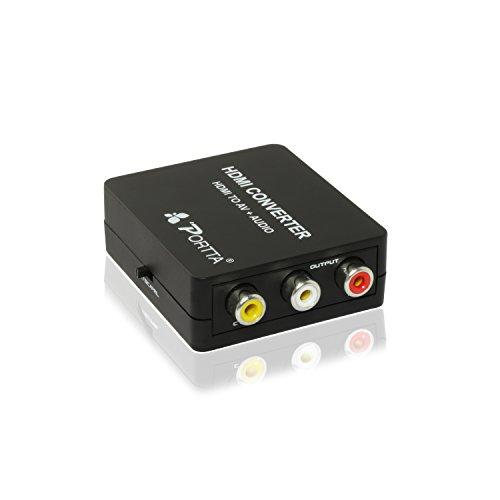 Portta PETHCAP Convertisseur HDMI à RCA AV + Audio pour TV/PC/PS3/Blu-Ray DVD Noir - ne convient pas pour windows 10