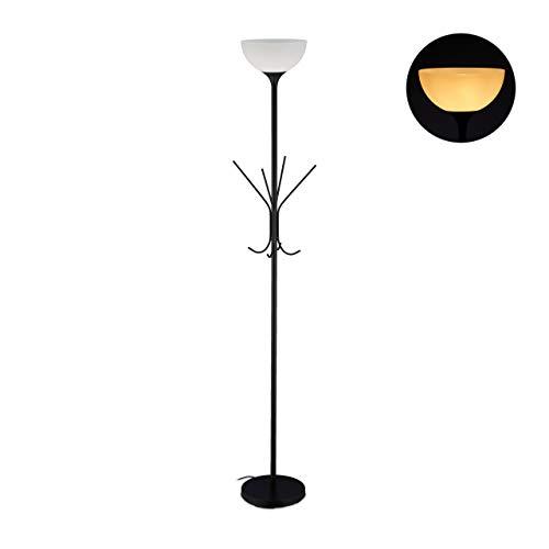 Relaxdays, zwarte staande lamp met kapstok, 8 haken, modern design, E27-fitting, metaal, H x D: 180 x 33 cm