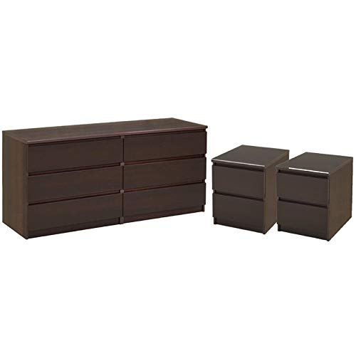 Home Square 3 Piece Bedroom Set with 6 Drawer Double Dresser and Two 2 Drawer Nightstands in Coffee