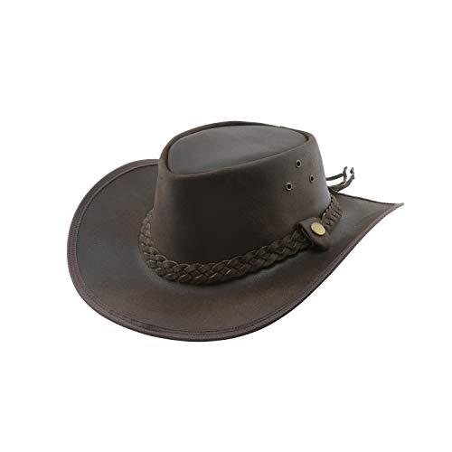 Black Jungle Bulat Lederhut, Westernhut, Australienhut, Cowboyhut (Braun, XL)