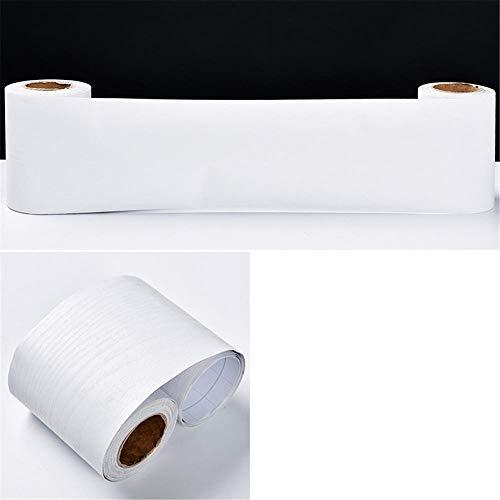 Borde del papel pintado Veta de madera blanca Auto Adhesivo del Papel Pintado del PVC Cenefa autoadhesiva para decoración de...