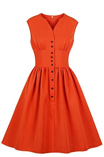 Misshow Robe Femme Eté Grande Taille Imprimée à Fleurs Robe de Soirée Mi Longue Style Vintage Rétro année 50s 60s Swing Plissée Orange 4XL