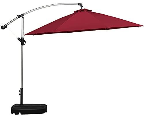 QQ HAO Gran juego de paraguas para exteriores, paraguas de jardín, incluye base extraíble para tanque de agua en ruedas, rojo vino