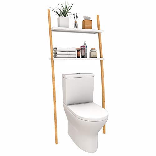 Toilettenregal Waschmaschinenregal Badregal aus Bambus, Bad WC Regal Waschmaschinenschrank mit 2 Ablagen-173x66x25cm (Braun-Weiß)