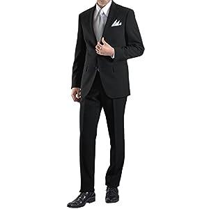 [MARUTOMI]フォーマルスーツ 礼服 喪服 紳士服 シングル 2つボタン オールシーズン メンズ ブラックスーツ L-AZ46F80139-990-YA4