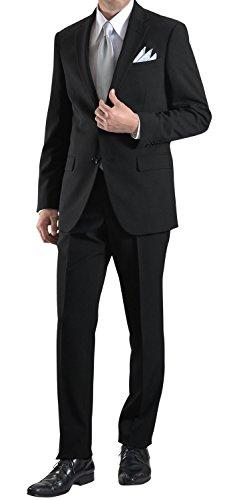 礼服 大きいサイズ (2L-8L) メンズ ブラック フォーマル スーツ ビッグサイズ 2つボタン シングル ブラックスーツ 冠婚葬祭 喪服 結婚式 黒 オールシーズン 春夏 秋冬 suit ビジネス 【裾上げテープ・スーツハンガー付属】WS46f8013
